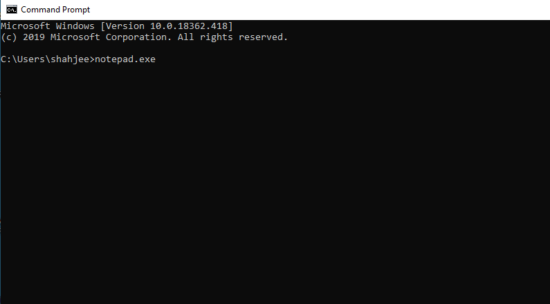Open Notepad Using Command prompt