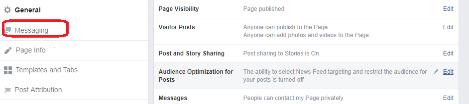 Auto reply on Facebook page
