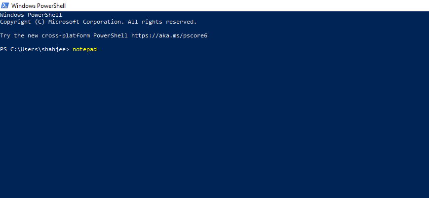 Open Notepad Using Windows PowerShell