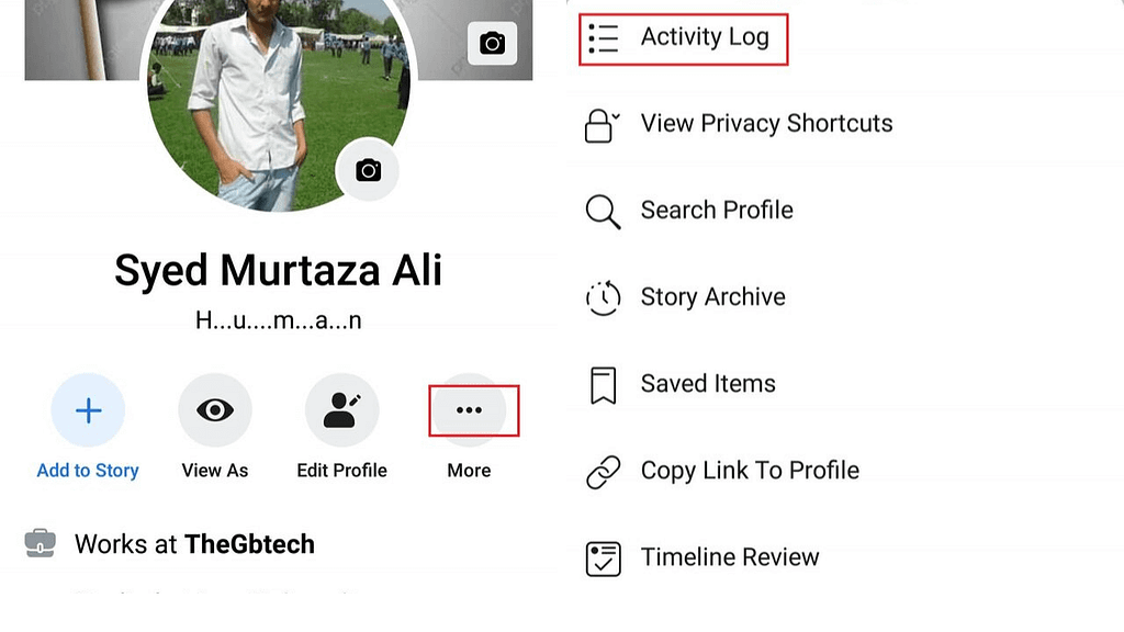 how to used Facebook activity log