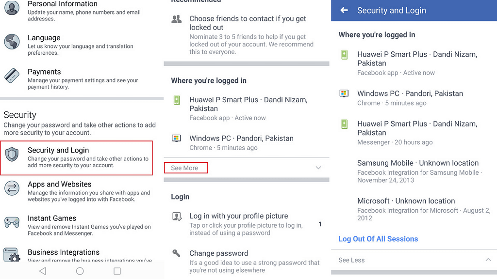 how to check facebook login history