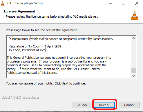 Install VLC in Your Window