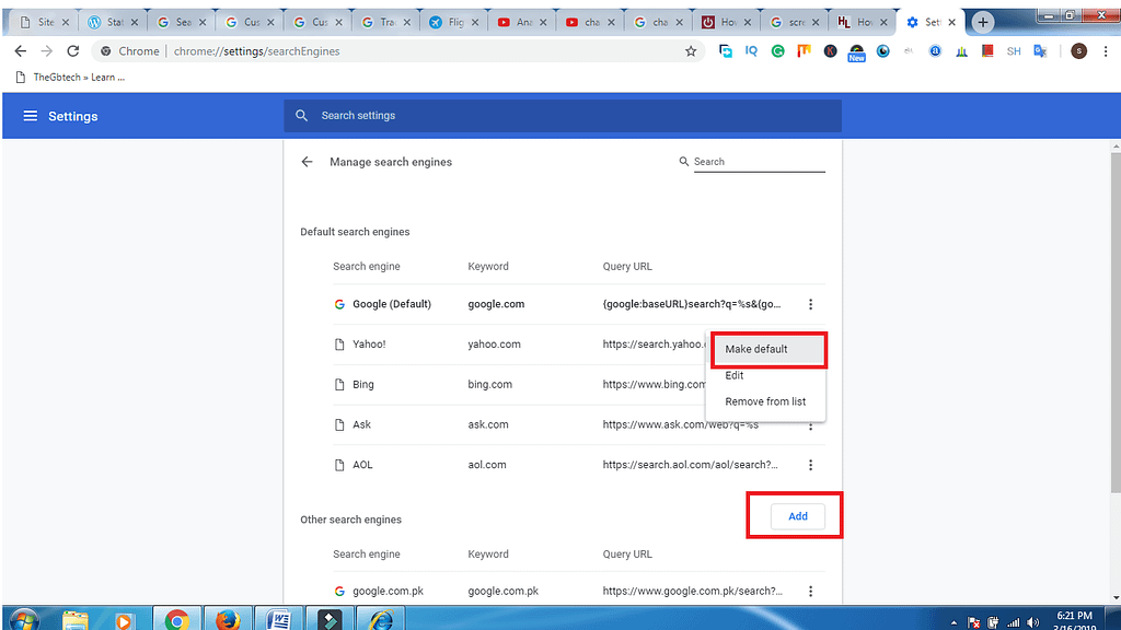 change the default browser