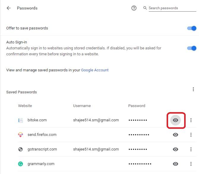 Google chrome view saved password