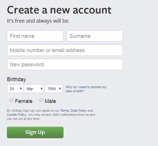 Create a Facebook Account