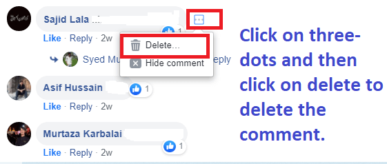 how to delete Facebook comment