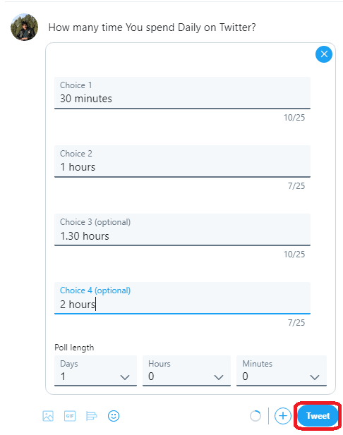 Create a poll on Twitter in Computer