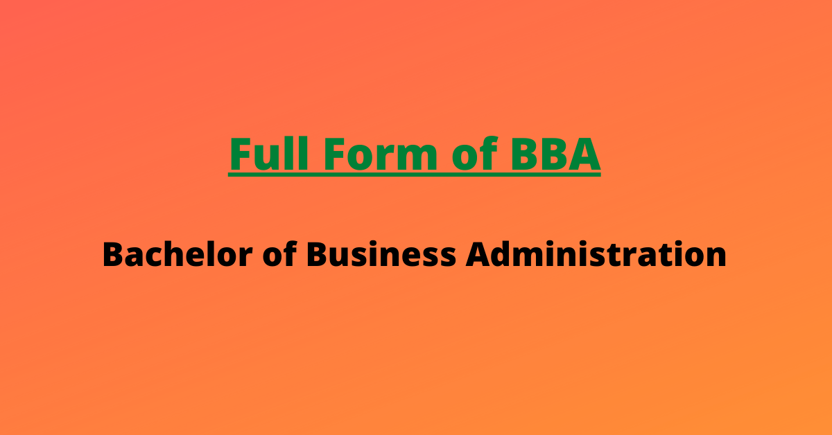 What is the Full Form of BBA