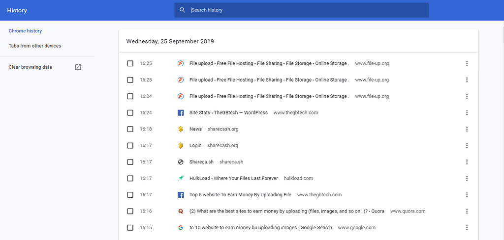 view and delete Google Chrome History