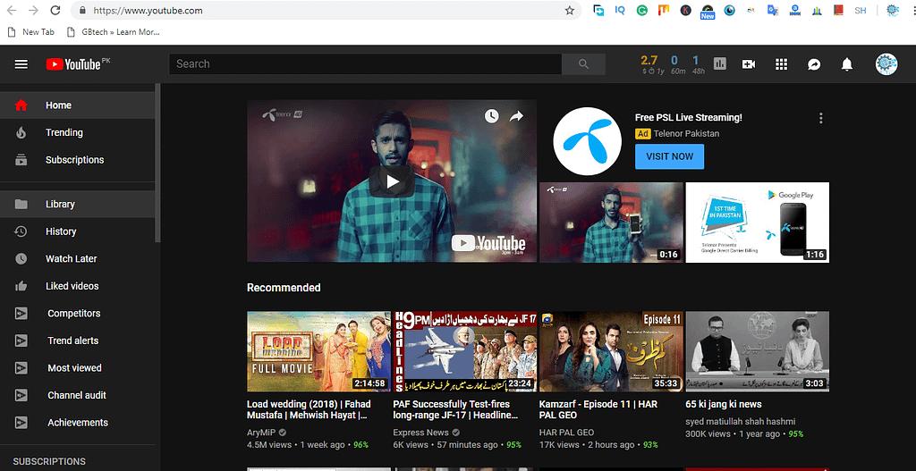 Enable youtube dark theme