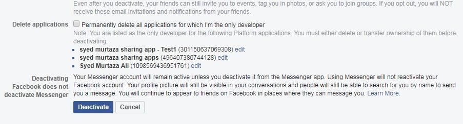 temporarily deactivate your Facebook account