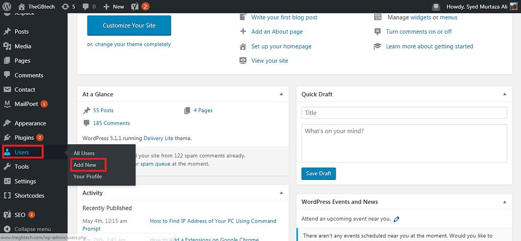 add new user on wordpress