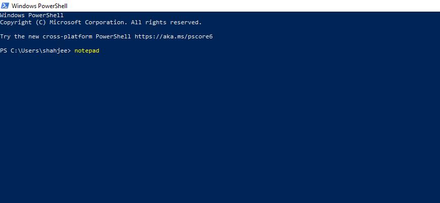 Open Notepad Using Windows PowerShell